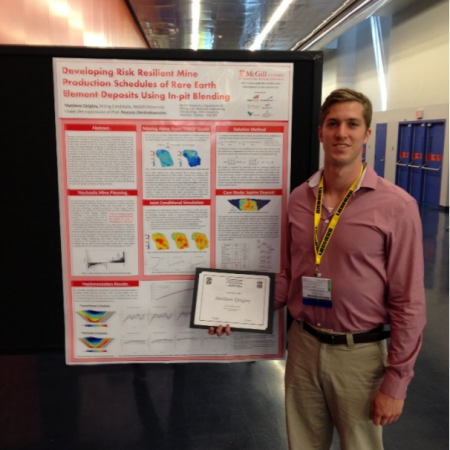 Matt Quigley places 2nd at the Student Poster Competition at 2015 CIM Montreal